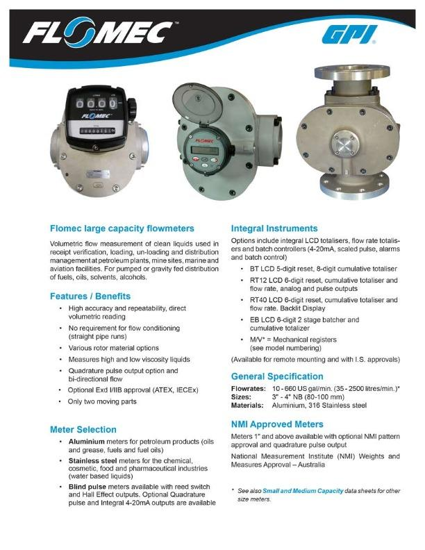 FLOMEC Large Capacity Flowmeters