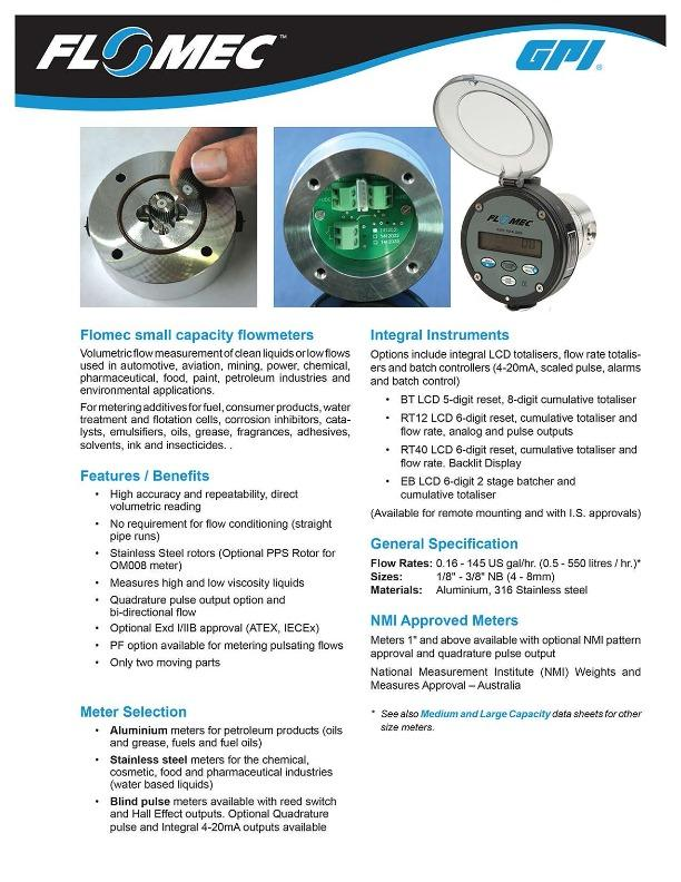 FLOMEC Small Capacity Flowmeters