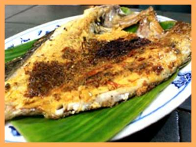 Charcoal Grilled Fish On Banana Leaf