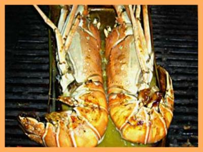 Charcoal Grilled Lobster on Banana Leaf