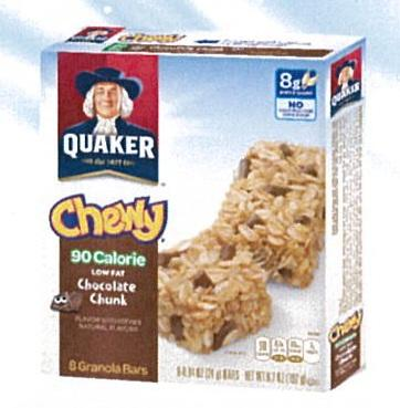 Quaker Cereal Bar Chocolate Chunk 8X24g