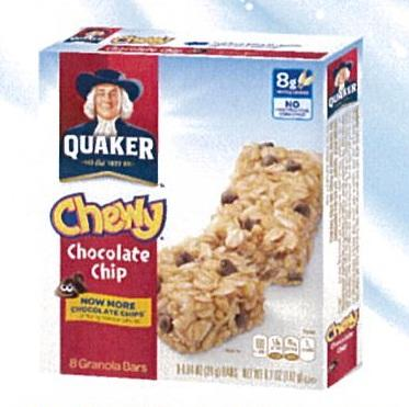 Quaker Cereal Bar Chocolate Chips 8X24g