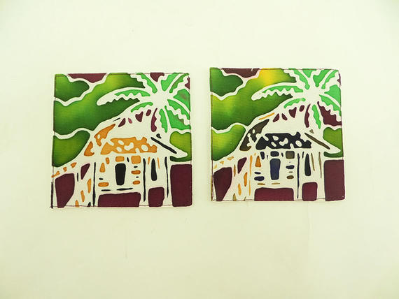 SET OF FOUR QUILTED COASTERS   KAMPUNG HOUSE