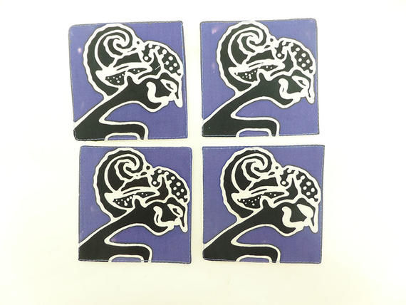 SET OF FOUR QUILTED COASTERS   WAYANG KULIT