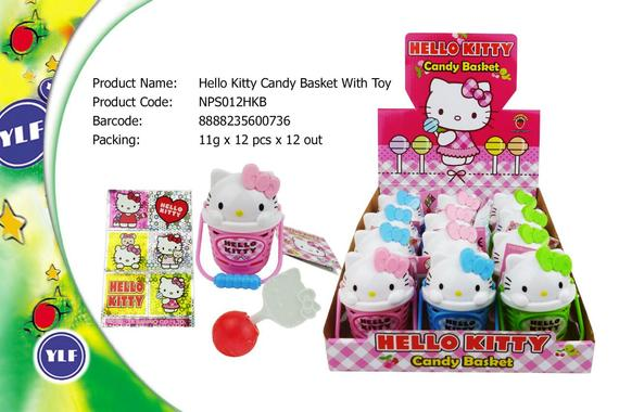 HELLO KITTY CANDY BASKET WCANDY 12SX11G