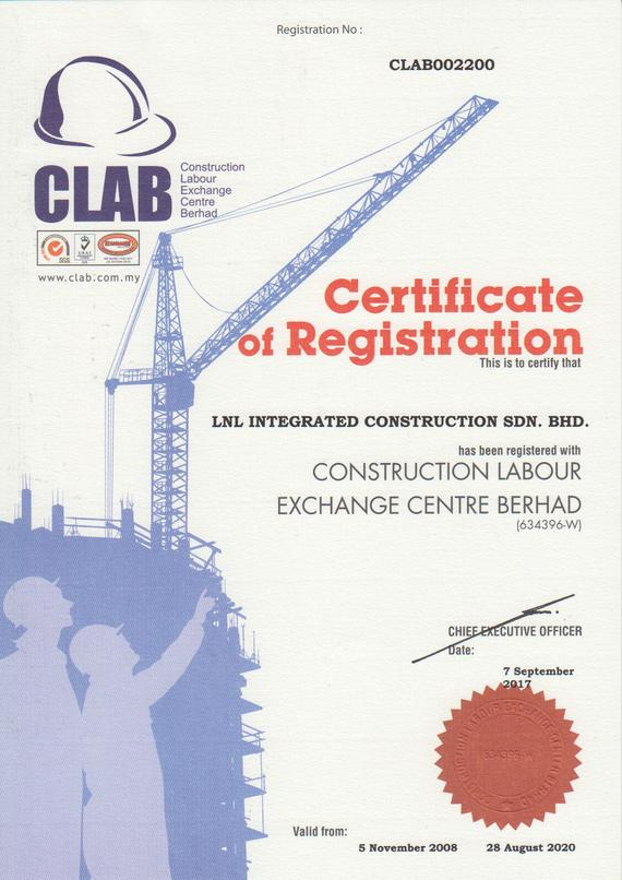 CLAB Certificate of registration