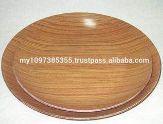 Anti-Slip Round Teak Wooden Food Tray