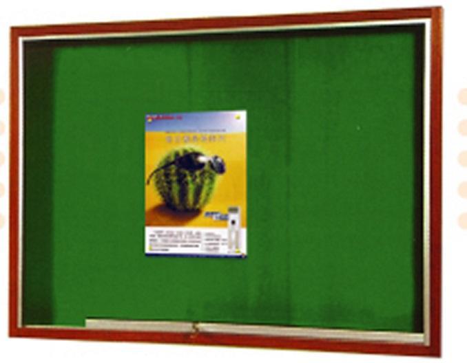 Wooden Frame Velvet Notice Board Sliding Glass Cabinet