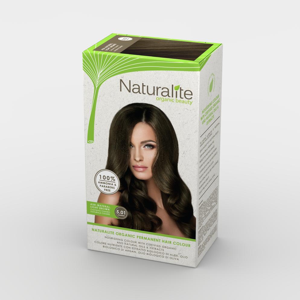 ( 5.01 ASH NATURAL, LIGHT BROWN ) NATURALITE ORGANIC BEAUTY PERMANENT HAIR  COLOURS HAIR