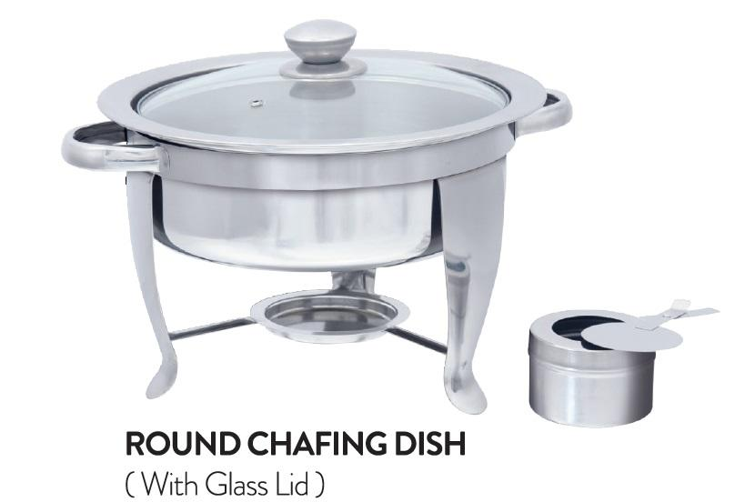 Round Chafing Dish (with Glass Lid)
