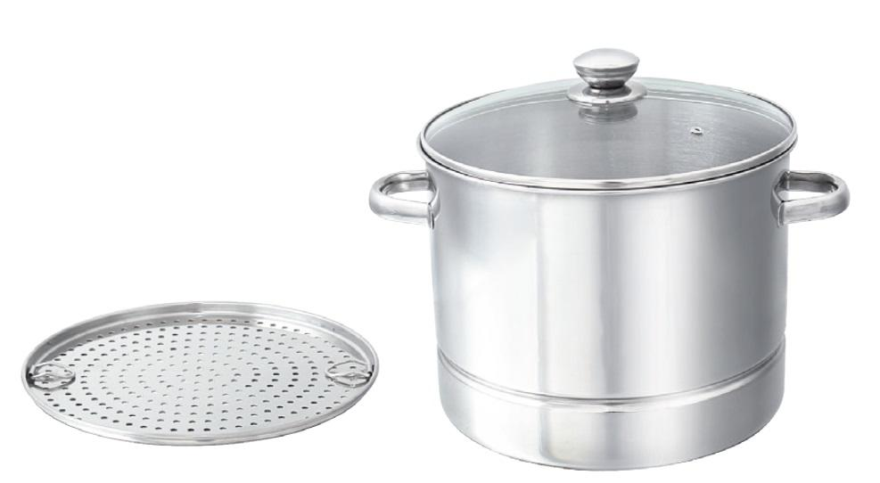 Stockpot with Steamer Plate (with Glass Lid)