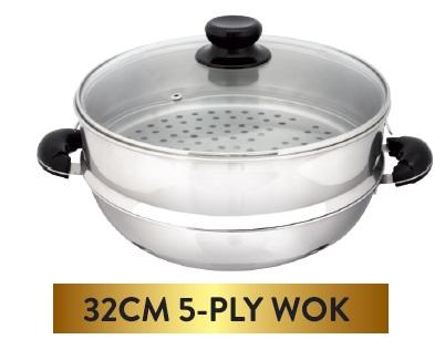 32CM 5-Ply Wok (Include Steamer)