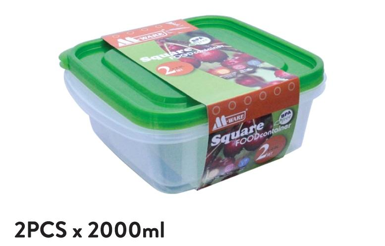 Fresh Air Tight Food Container 2pcs x 2000ml