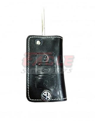 VAGLC000130 Volkswagen Leather Case For 3 Button Flip Remote Key