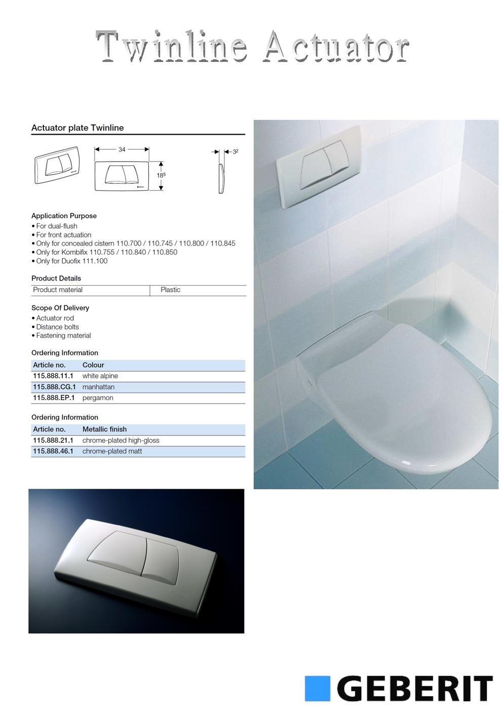 Geberit concealed pvc cistern system for Geberit products
