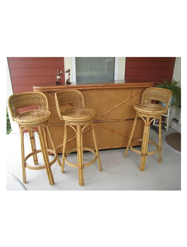 Tiki-Rattan Bar Stool