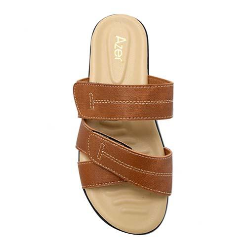 AZER - LADIES FLAT SANDALS (19-1163 L.BN) LIGHT BROWN