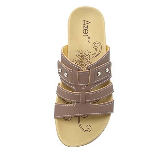 AZER - LADIES FLAT SANDALS (76-14180 AL) ALMOND