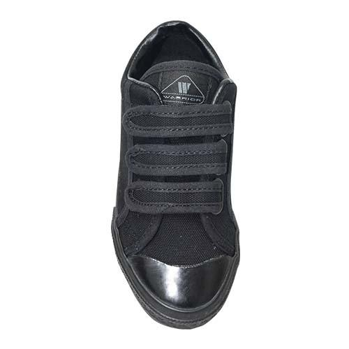 WARRIOR LOW CUT TRIPLE VELCRO STRAP SHOE (W 2692-BK) BLACK