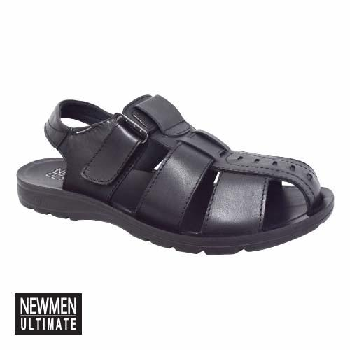 NEWMEN - CLOSED TOE LEATHER SANDAL (MA 1019-BK) BLACK