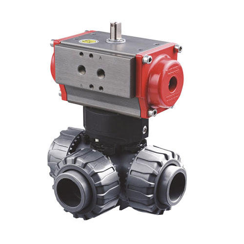 FIP electrically and pneumatically actuated dual block ® 3-way ball valve TKD/CE - TKD/CP DN 10÷50