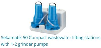 Sekamatik 50 Compact Wastewater Lifting Stations With 1-2 Grinder Pumps