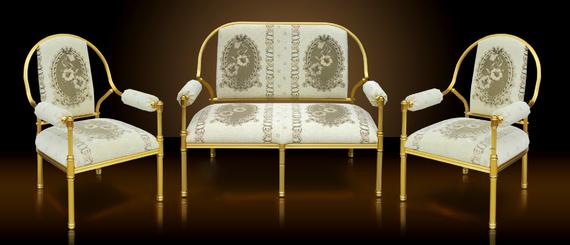 Royal golden aluminium frame luxury classic design for Classic sofa malaysia