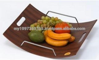 Curved Shape Design Fruit Tray With Metal