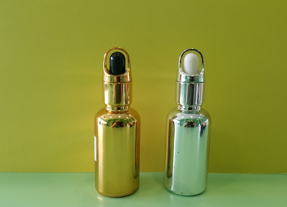 Gold & Silver glass bottle