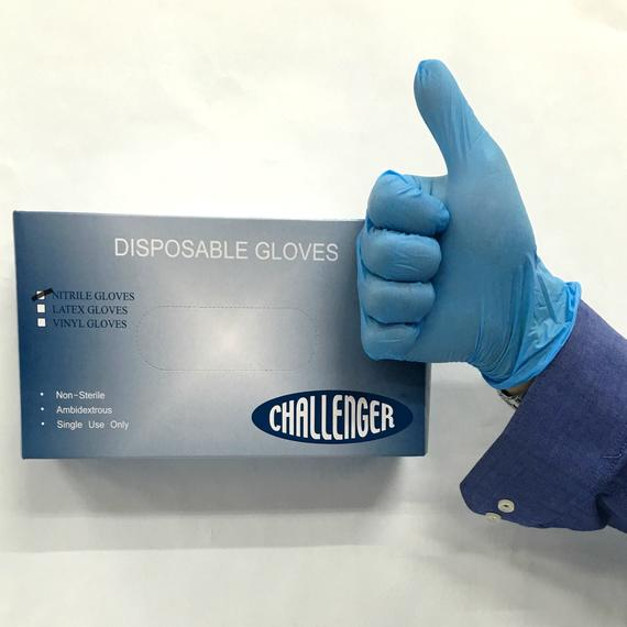 Challenger Disposable Blue Nitrile Glove