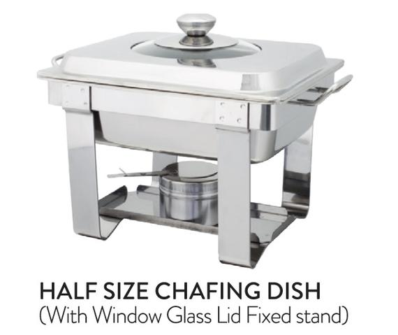 Half Size Chafing Dish (With Window Glass Lid Fixed stand)
