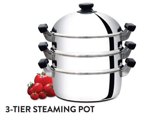 3-Tier Steaming Pot (Bakelite Handle)