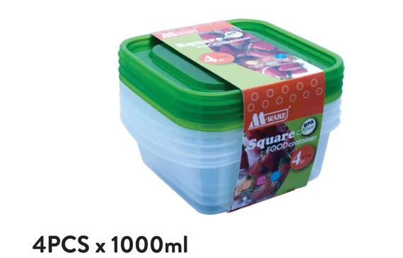Fresh Air Tight Food Container 4pcs x 1000ml
