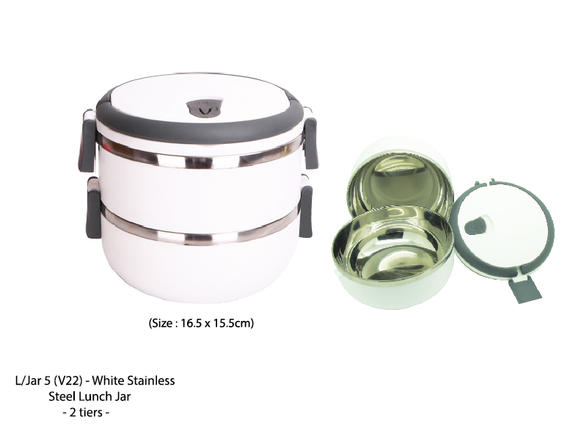 Lunch Jar 5  - White Stainless Steel Lunch Jar - 2 Tiers