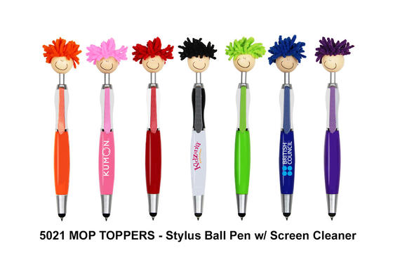 5021 MOP TOPPERS - Stylus Ball Pen w/ Screen Cleaner