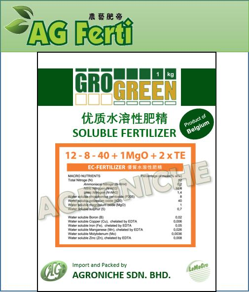 Grogreen Soluble Fertilizer - Fruit 12-8-40
