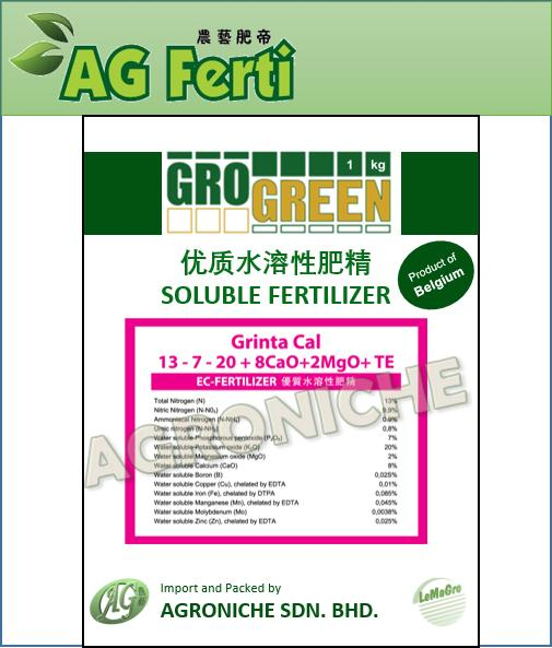 Grogreen Soluble Fertilizer - Fruit 13-7-20