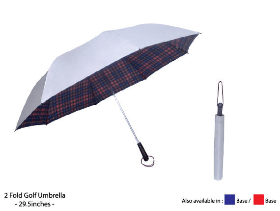 "28"" 2 Fold Silver Coated Umbrella"