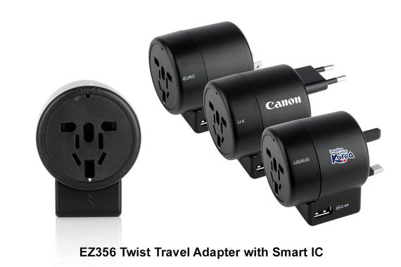 EZ356 Twist Travel Adapter with Smart IC