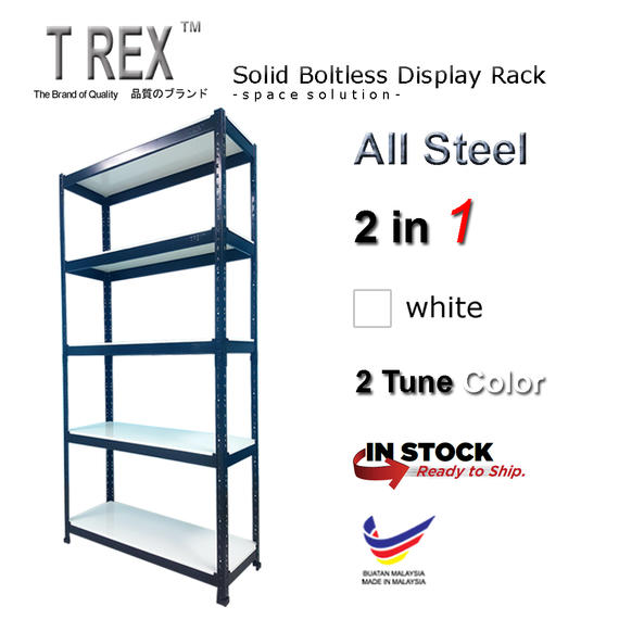 T Rex Solid 5 Tier Steel Boltless Storage Rack (White)