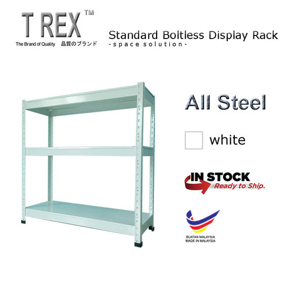 T Rex Standard 3 Tier Steel Boltless Storage Rack (White)