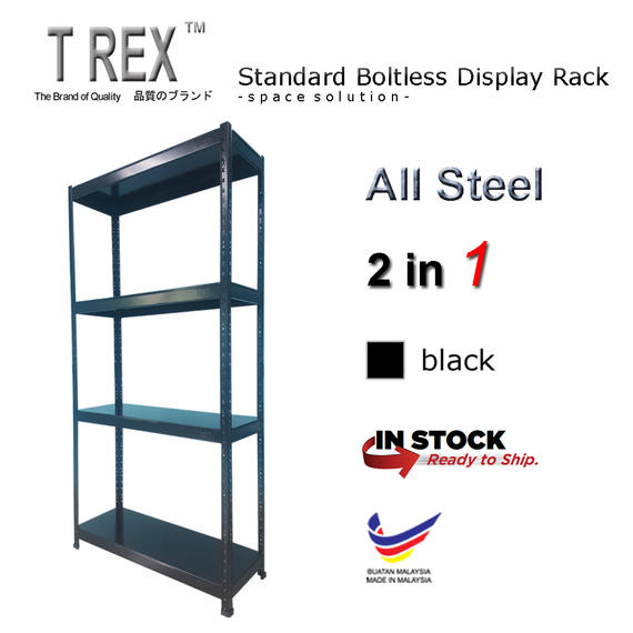 T Rex Standard 4 Tier Steel Boltless Storage Rack (Black)