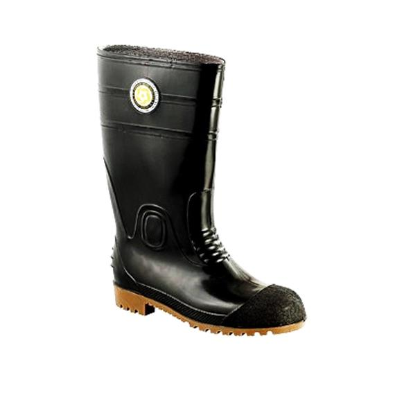 Korakoh 8000A PVC Safety Boots (Black) with Steel Toe Cap & Steel Mid Sole