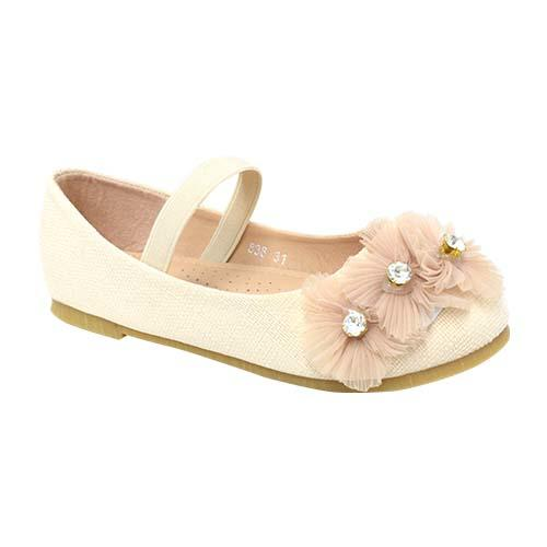 AZER - CHILDREN'S SLIP-ON BALLET SHOES (CK 838-AP) APRICOT