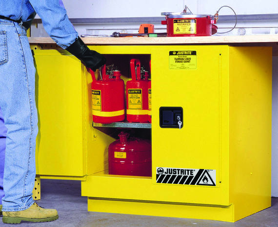 22Gallons Sure-Grip® EX Self-Close Undercounter Safety Cabinet for Flammables