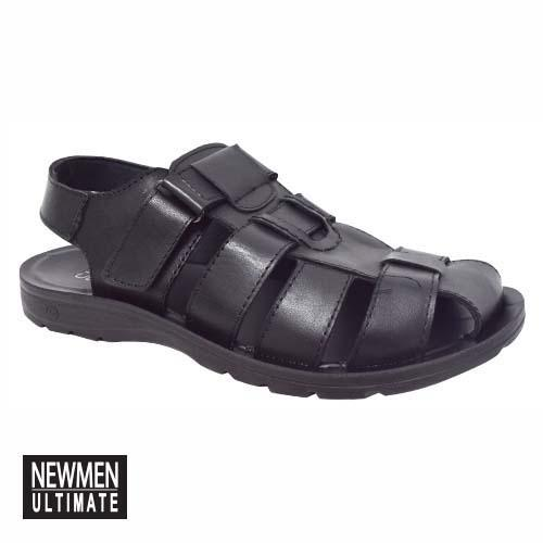 NEWMEN - CLOSED TOE LEATHER SANDAL (MA 1029-BK) BLACK