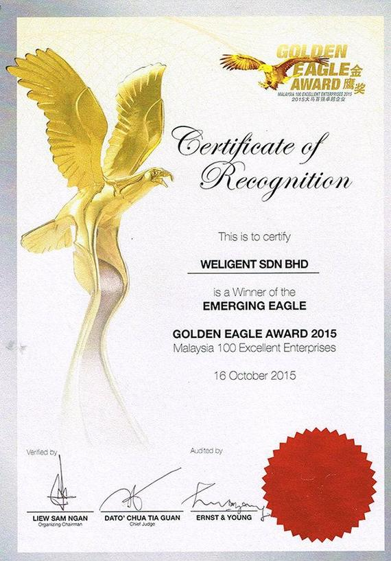 NanYang Golden Eagle Award Certificate 2015