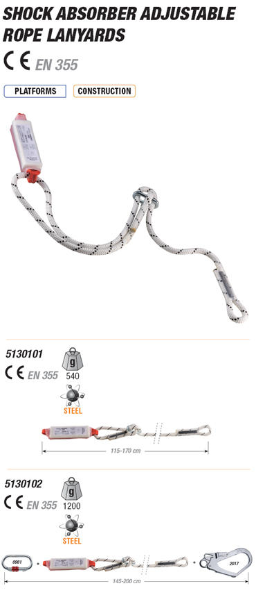 SHOCK ABSORBER ADJUSTABLE ROPE LANYARDS