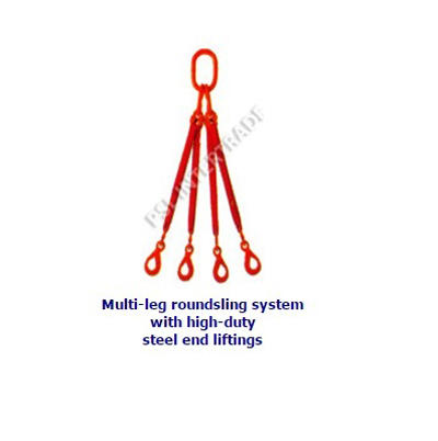 Multi-leg roundsling system with high-duty steel end liftings
