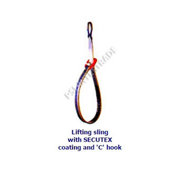 Lifting sling with SECUTEX coating and 'C' hook
